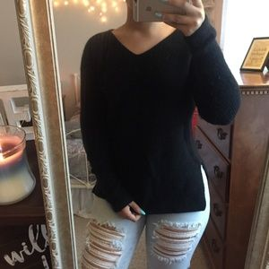 Black Angora ribbed sweater